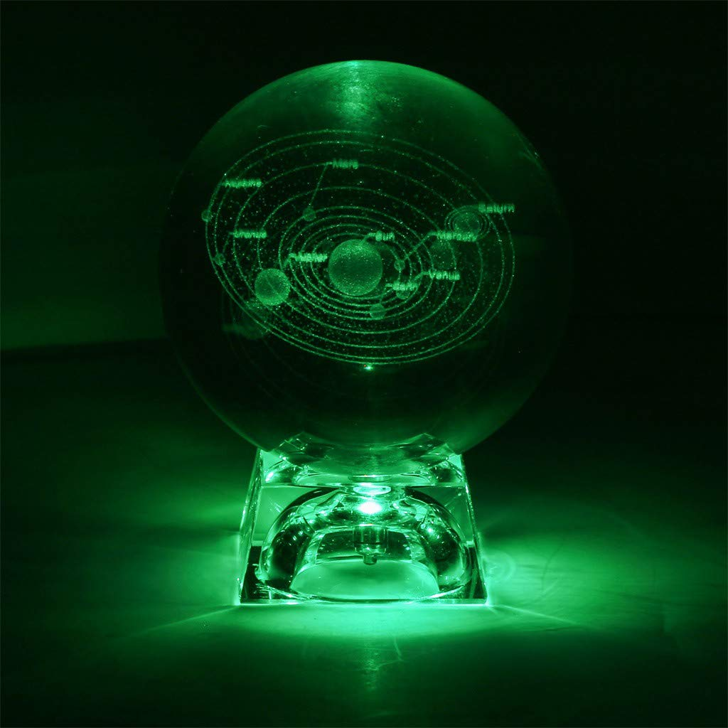 SUJING 3D Crystal Solar System Crystal Ball Engraving Solar System Miniature Planet Model (A) by SUJING (Image #2)