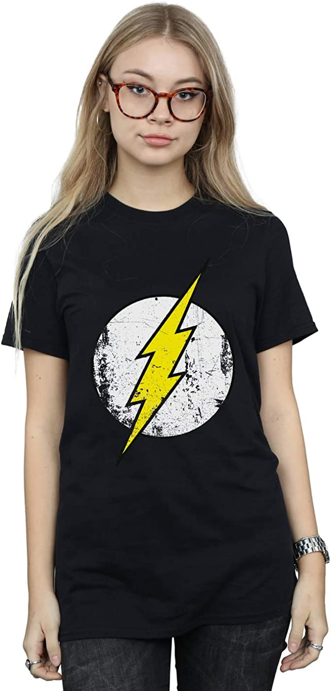 DC Comics Mujer The Flash Distressed Logo Camiseta del Novio Fit