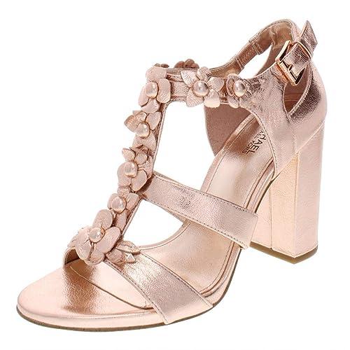e2041c97853 MICHAEL Michael Kors Womens Tricia Leather Dress Sandals Pink 7 Medium  (B