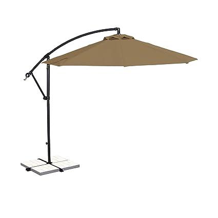 Island Umbrella NU6400ST Santiago Octagonal Cantilever Umbrella, 10 Ft,  Stone Olefin