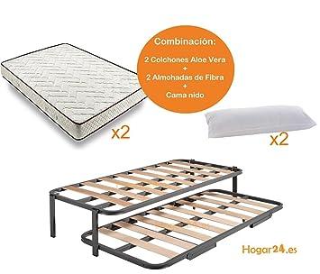 HOGAR24.es-Cama Nido metálica con 2 somieres Lama Ancha Reforzada + Patas + 2 colchones Aloe Vera + 2 Almohadas de Fibra de Regalo-80x180cm: Amazon.es: ...