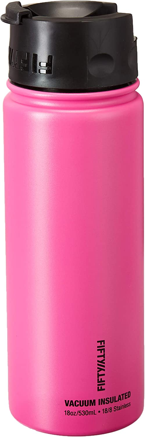 Fifty/Fifty, Double Wall Vacuum Insulated Café Water Bottle, Stainless Steel, Flip Cap w/Wide Mouth