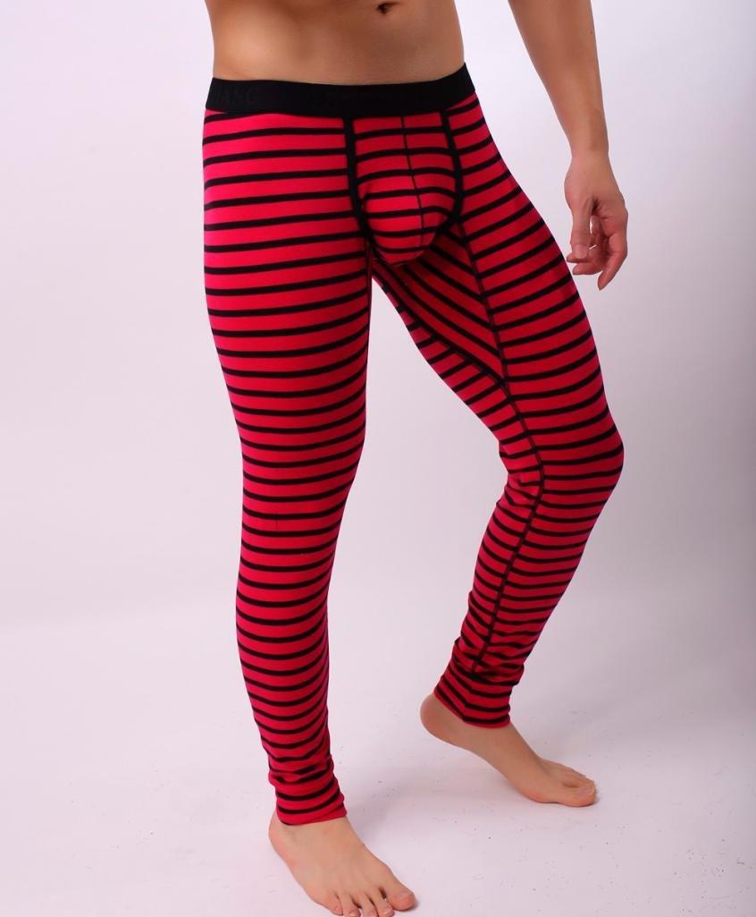 ,Vanvler Male Striped Breathe Low Rise Thermal Pant Patchwork Leggings Men Long Johns