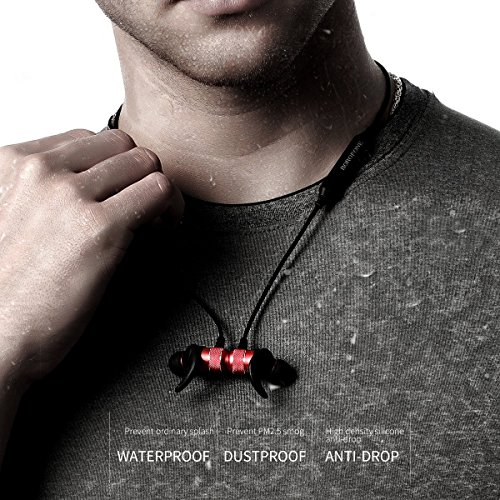 Auriculares Bluetooth V4.2 Correr Deportivo BOROFONE BE5 Inalámbrica Magnéticos Estéreo Ajuste Seguro para Gimnasio con Micrófono Incorporado Cancelación de Ruido(Rojo)
