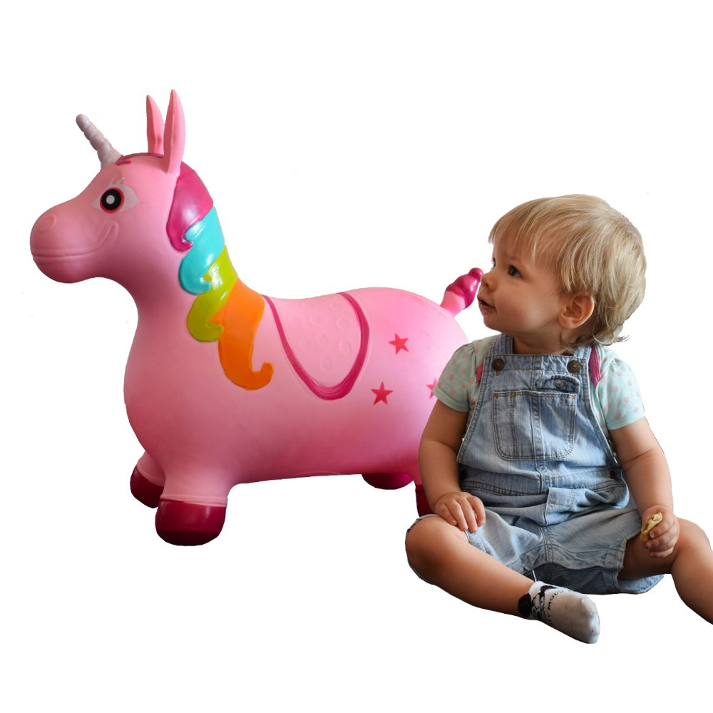 Rosa TE-Trend Caballo saltos Animal de brincar Unicornio Unicorn Caballo de brincar hasta 50kg resistente en p/úrpura o rosa