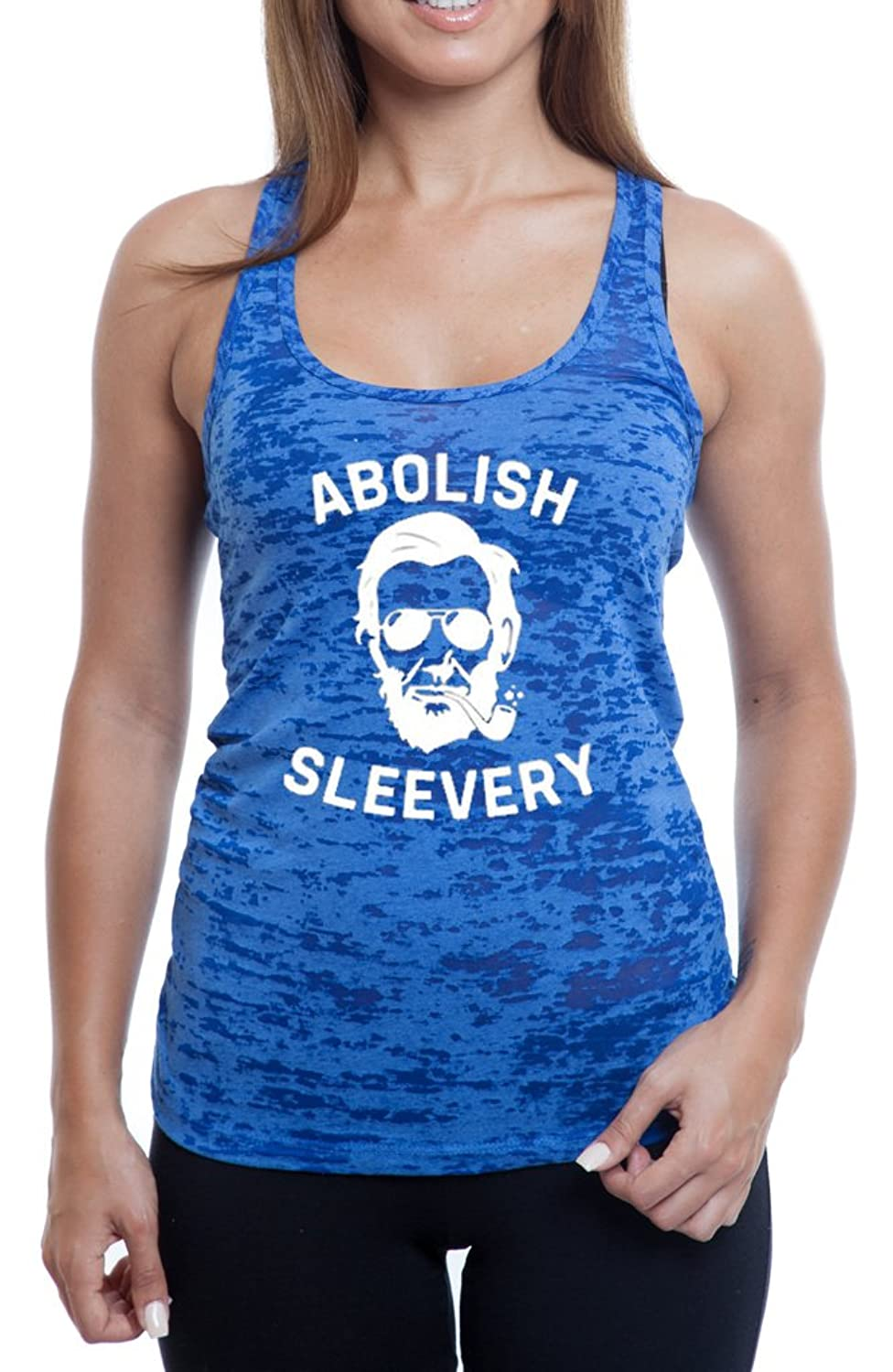 Women's Abe Lincoln Abolished Sleevery Burnout TankTop