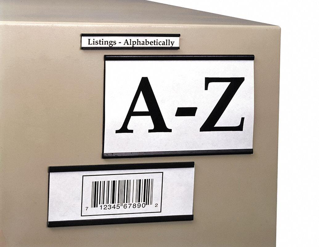 Magnetic Label Holder, Black, 6''L x 1''W, 25 PK