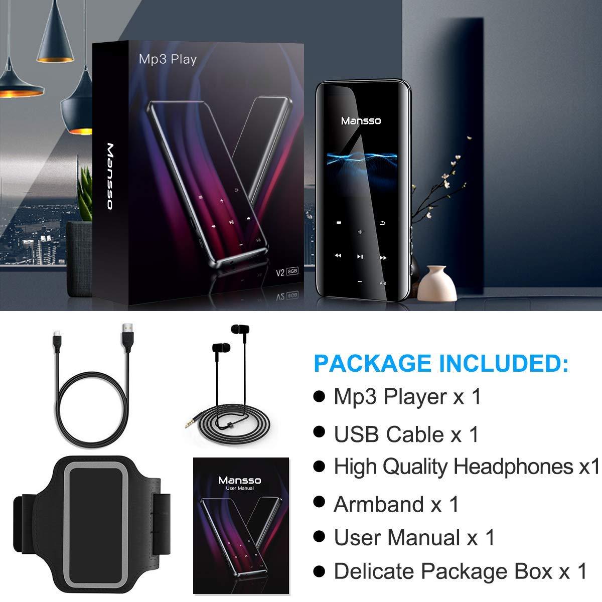 Audio Digital Radio FM soporta hasta 128 GB port/átil grabadora de Voz Pantalla Grande Curvada 3D de Nivel de milisegundo Sonido sin p/érdida Reproductor de MP3 Bluetooth 4.2 de 2,4 Pulgadas