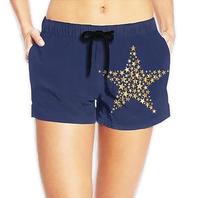 Women's Gold Star Summer Loose Fit High Waisted Beach Wear Shorts Hot Pants