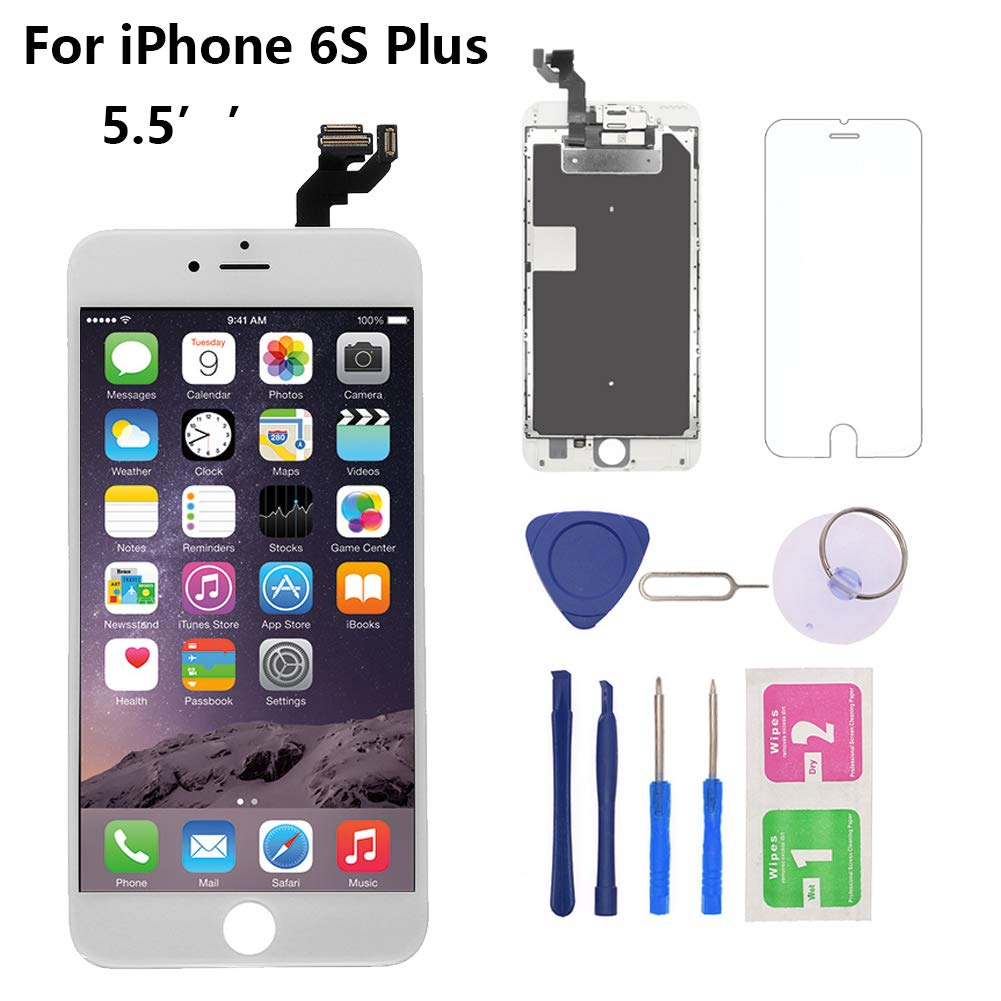 Nroech for iPhone 6S Plus Screen Replacement 5.5'' [White], 6S Plus 3D Touch LCD Screen Digitizer Frame Full Assembly with Camera - Earpiece - Free Repair Tool Kits-Protector for A1634, A1687, A1699