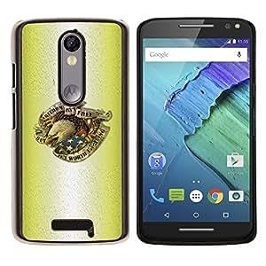 Caucho caso de Shell duro de la cubierta de accesorios de protección BY RAYDREAMMM - Motorola MOTO X3 3rd - Tinta del tatuaje de Eagle del patriota de los EEUU de América