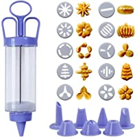 Cookie Press, Classic Biscuit Maker, Cake Making Decorating Set with 10 Flower Pieces and 8 Flower Mouth for DIY Cake Cookie Maker Decorating