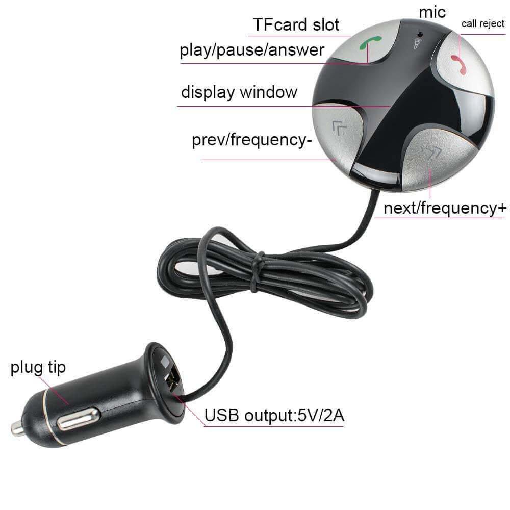 Enshey Transmetteur FM Bluetooth, Sans fil avec Support Magnétique Détachable et Chargeur USB Récepteur Stéréo de voiture Kits Voiture sans fil Audio Voiture Système stéréo – Noir