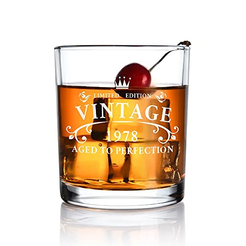 1978 40th Birthday Gifts For Men And Women Whiskey Glass Anniversary