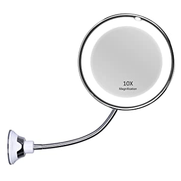 bathroom magnifying mirror. KEDSUM Flexible Gooseneck 6.8\u0026quot; 10x Magnifying LED Lighted Makeup Mirror ,Bathroom Vanity With Bathroom R