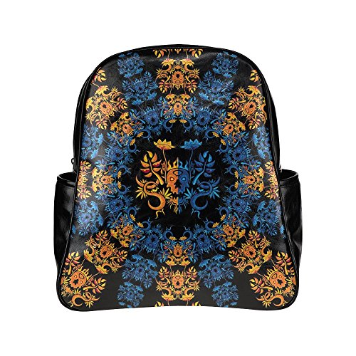 [InterestPrint Psychedelic Monster Skull Ornament PU Leather Custom Backpack School Tavel Daypack] (Monster High Dia De Los Muertos)