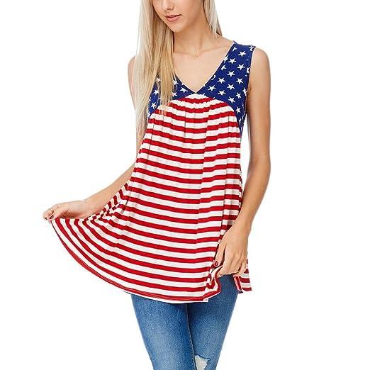 85656b92b360 Amazon.com: Gyoume Women Flag Print Tops,American Flag Striped Printed July  4th Tank Top Sleeveless Shirts Vest (XL, Red): Clothing