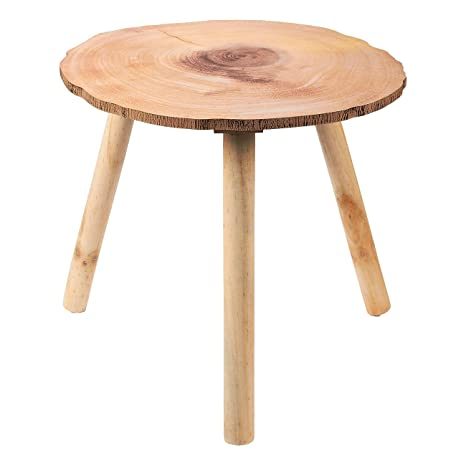 Round Coffee End Table - Small Wooden Dining Side Table for Nightstand,  Kitchen, Living Room, Bedside Furniture, 16 x 15 x 15.2 Inches