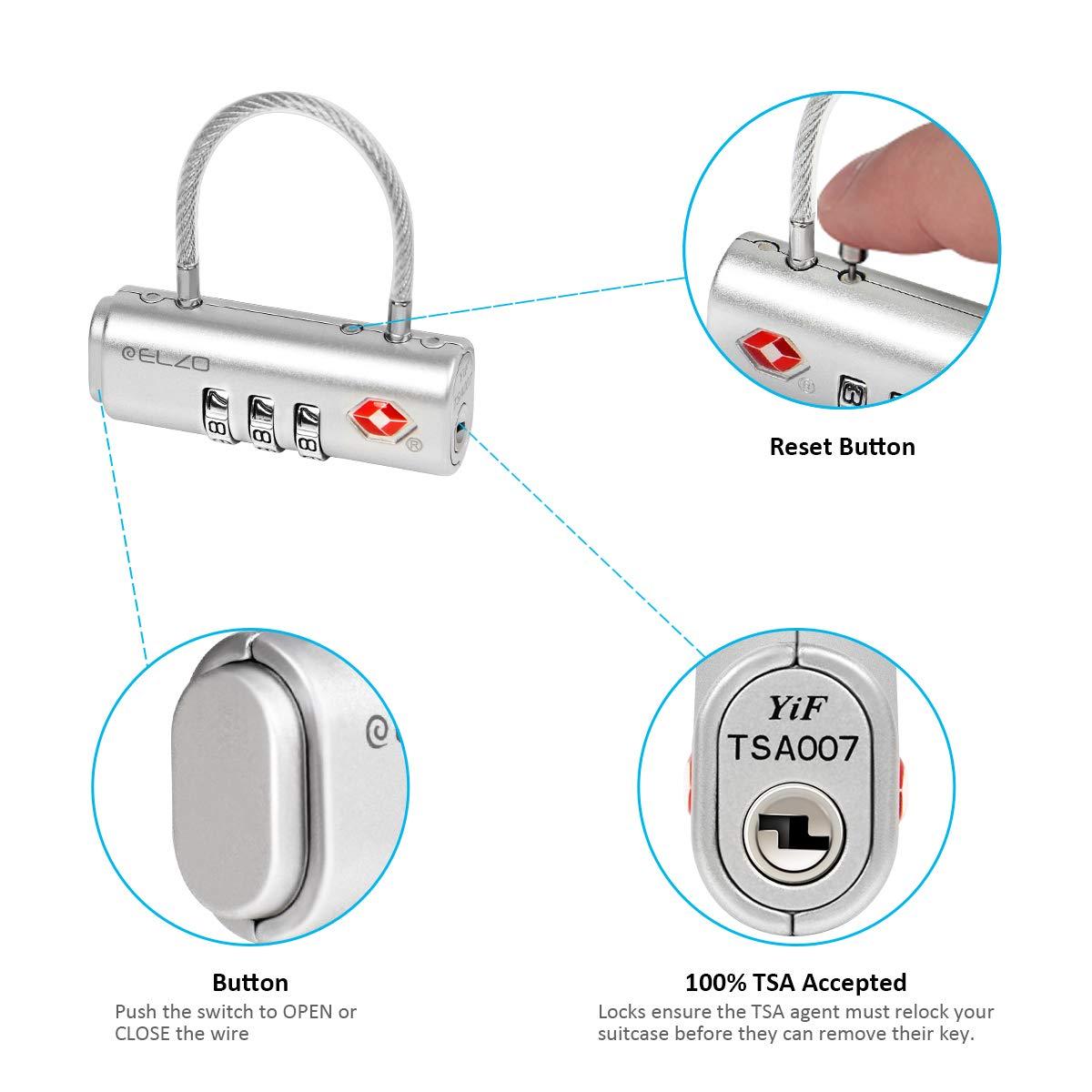 Candados de Seguridad ELZO Candado Combinacion Negro /& Plata Candado TSA Candado Maleta para Equipaje 2 Unidades con Cierre de Cable