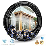 HOMENOTE Outdoor Misting Cooling System 59FT (18M) Misting Line + 26 Brass Mist Nozzles + a Brass Adapter(3/4) For Patio Garden Greenhouse Trampoline for waterpark