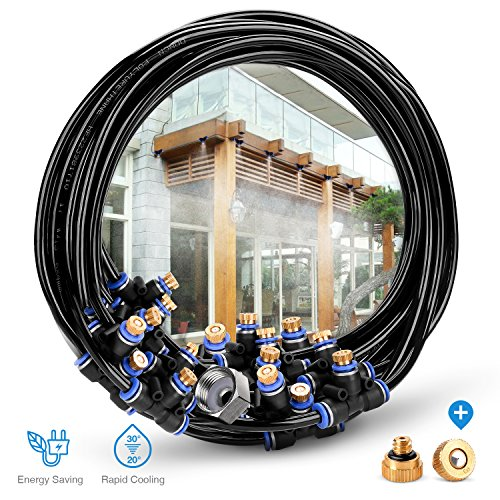 HOMENOTE Outdoor Misting Cooling System 75.46FT (23M) Misting Line + 34 Brass Mist Nozzles + a Brass Adapter(3/4) For Patio Garden Greenhouse Trampoline for (Mist Tubing)