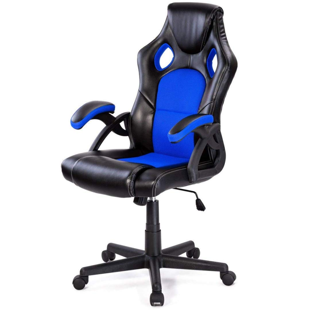 Modern Style High Back Racing Style Gaming Chairs Thick Padded Seat PU Leather Upholstery Adjustable Reclining Tilt Home School Office Furniture - (1) Blue #2126 by KLS14