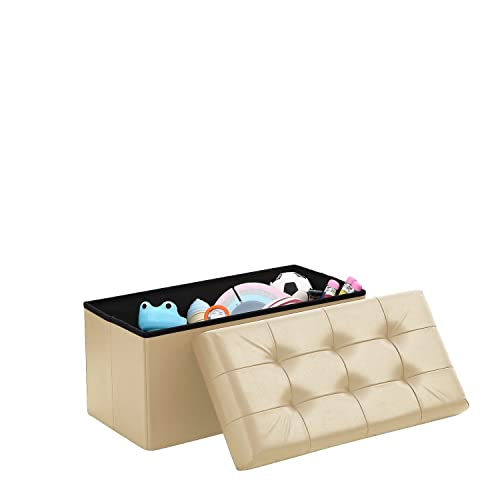 Home Sweet Home Ottoman Faux Leather Bench Folding Box Storage Medium Size 15 x 30 x 15 , Taupe