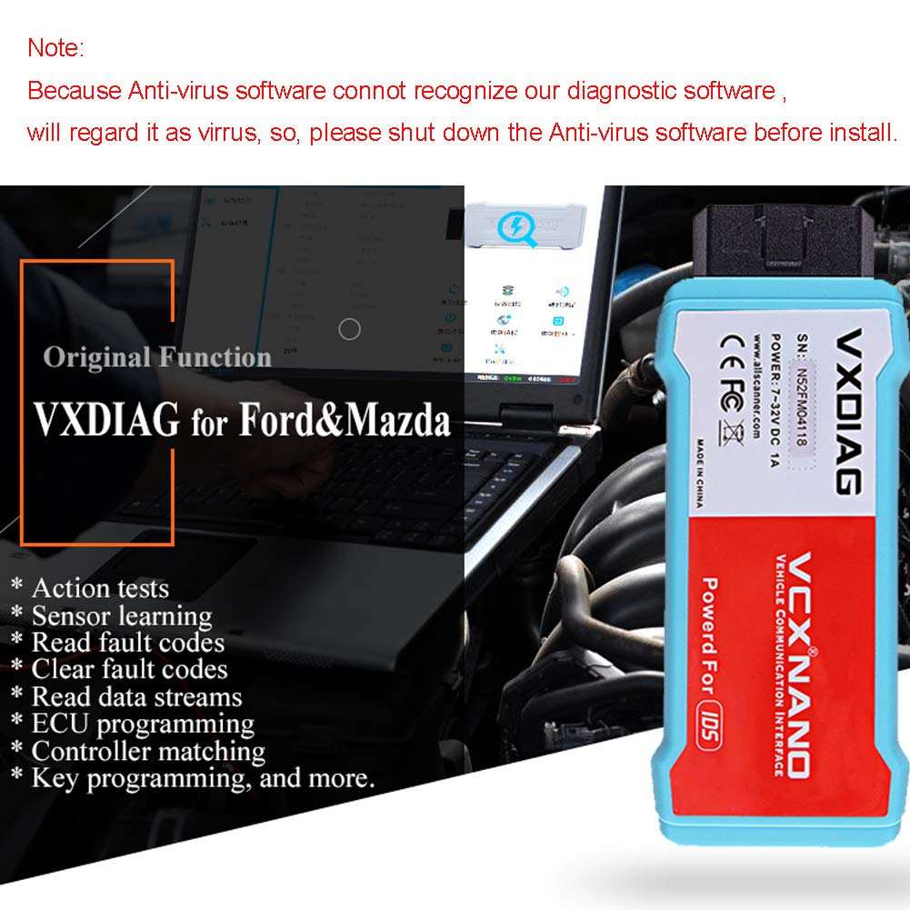 VXDIAG VCX Nano Auto Diagnostic Tool for Ford & Mazda Diagnostic Scanner 2  in 1 Scan Tool IDS Software Coding and Programming Work with Computer, WiFi