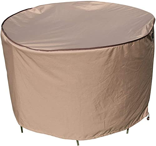 TrueShade Plus CT0840036TN Water Resistant Round Table and Chair Set Furniture Cover, Large, Tan