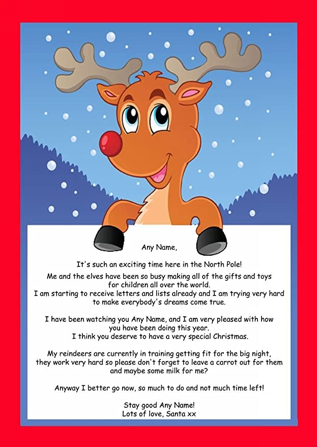Amazon Com Red Reindeer Personalized Christmas Letter From Santa Office Products
