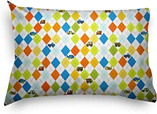 product image for SheetWorld Percale Twin Pillow Case - Argyle White Transport - Made In USA