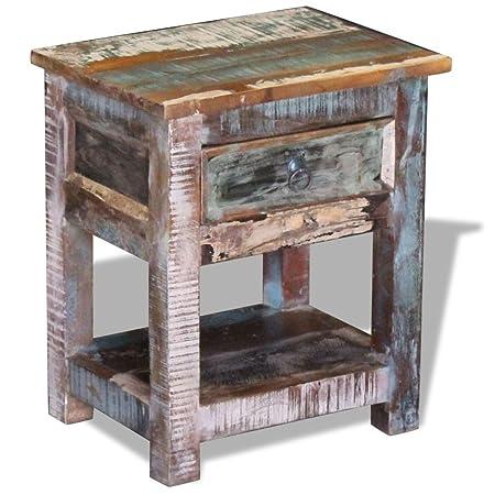 vidaXL Solid Reclaimed Wood Side End Table Storage Cabinet Nightstand 1 Drawer