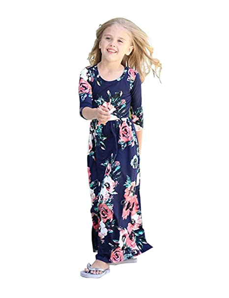a37091e978fb4 Amazon.com: Girls Maxi Dress, Kids Floral Casual T-Shirt 3/4 Sleeve Dresses  with Pocket for Girls 6-12T: Clothing