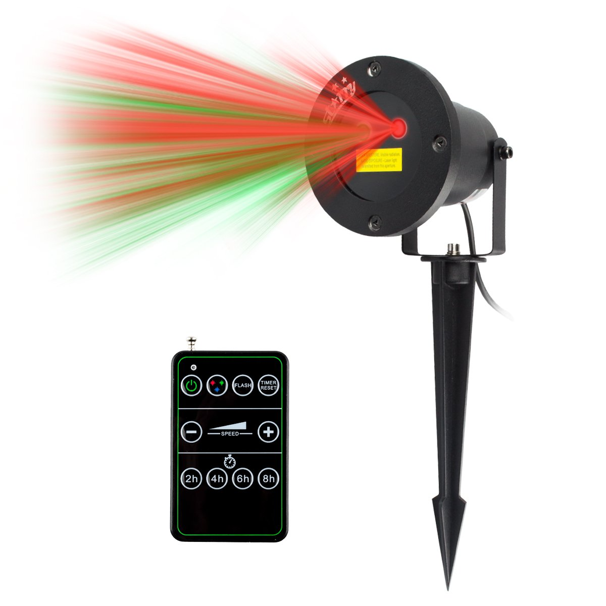 camping Laser lights, LED Projector Aluminum Alloy with IR Wireless Remote for Holiday, Party, Landscape and Garden Decoration, Indoor or Outdoor Use, Black