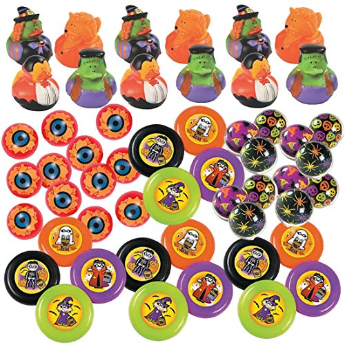 52 Pc Kids Halloween Bulk Party Favor Novelty Toy Assortment (12 Rubber Ducks, 12 Bouncy Balls, 16 Flying Discs, 12 Eyeballs) - Trick or Treat Handouts - Party Supplies - Goody Bag Fillers (Duck Halloween Rubber)