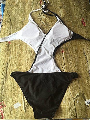 Alicemall Una Pieza Traje de Baño Push Up con Relleno Bikini Blanco y Negro para Playa