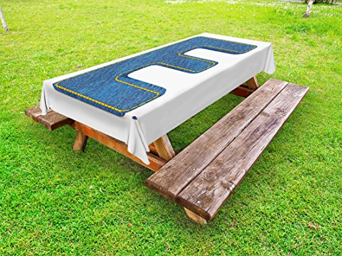 Ambesonne Letter E Outdoor Tablecloth, Denim Blue Jeans Themed Symbol E from Alphabet ABC of Fabric Uppercase Letter, Decorative Washable Picnic Table Cloth, 58 X 104 Inches, Blue Yellow