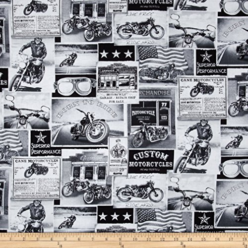 Timeless Treasures Vintage Motorcycles News Fabric