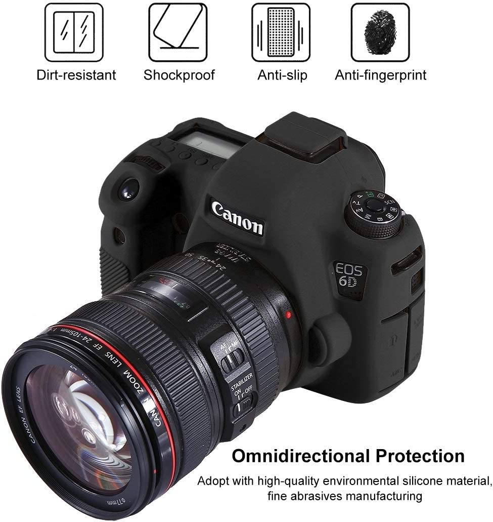 CAOMING Soft Silicone Protective Case for Canon EOS 6D Durable Color : Color1