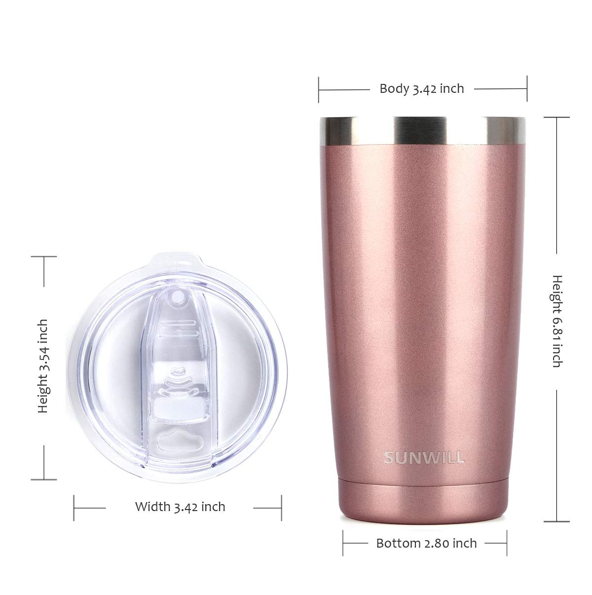 Stainless Steel Vacuum Insulated Double Wall Travel Tumbler Rose Gold 2 pack Thermal Cup with Splash Proof Sliding Lid SUNWILL 20oz Tumbler with Lid Durable Insulated Coffee Mug