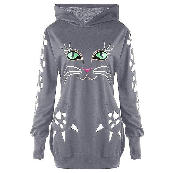Gusspower Sudaderas con Capucha Mujer Tumblr Blusa Talla Grande Impresión de Gato Top Camisetas Mujer Halloween: Amazon.es: Ropa y accesorios