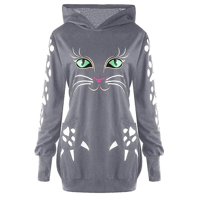 7ac87136bc9f17 OverDose Damen Herbst Winter Individualität Stil Womens Sweatshirt Katze  Print Hoodie mit Ohren mit Kapuze Pullover