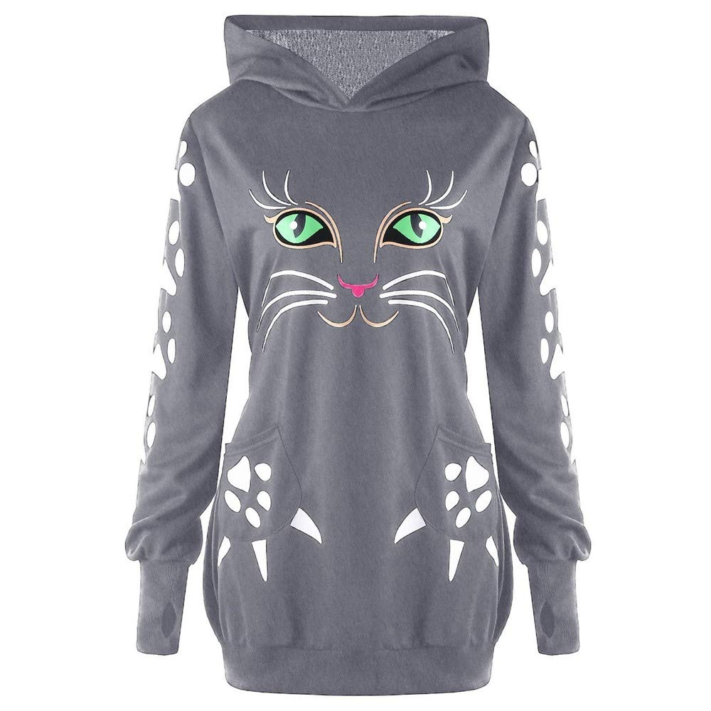 Sannysis Womens Sweatshirt Cat Print Hoodie with Ears Hooded Pullover Tops Blouse, Gray XXXXXL