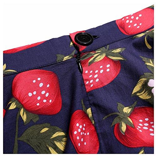 Swing Haute de Vintage Rockabilly Midi Femme Taille Bleu Cocktail Party Amur Casual de Leopard Fraise marine Jupe Rtro Jupe 1Wc7p00nz8