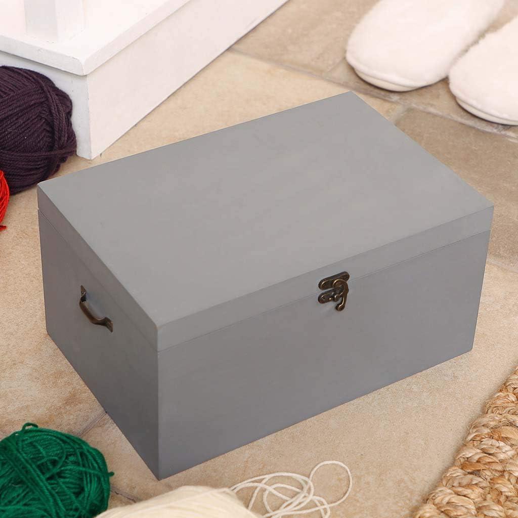 L30 x W20 x H15cm Dibor Large Grey Wooden Box Storage Chest