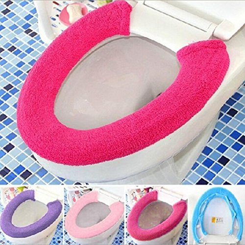 Gotd All Type Warm Soft Toilet Cover Seat Lid Pad Bathroom Closestool Protector (Hot Pink)