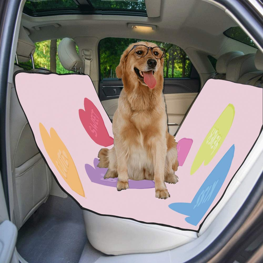 VNASKL Dog Seat Cover Custom Illustrated Conversation Hearts Love Printing Car Seat Covers for Dogs 100/% Waterproof Nonslip Durable Soft Pet Car Seat Dog Car Hammock for Cars Trucks SUV