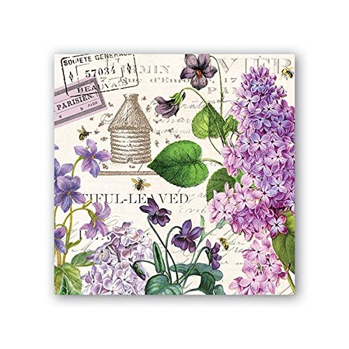 (Michel Design Works 20 Count 3-Ply Paper Cocktail Napkins, Lilac/Violets)