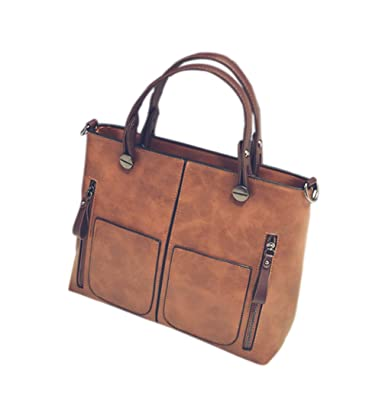 Amazon.com  Fashion Women Oil Wax Leather Tote Satchel Bag Retro Shoulder  Zipper Handbag (Brown)  Shoes c773c840440ea
