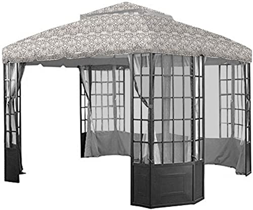 Garden Winds Replacement Canopy Top Cover for The Sears Bay Window Gazebo – Damask Beige